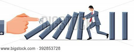 Businessman Stopping Domino Effect. Business Man Stops Falling Dominoes. Finishing Chain Reaction. S