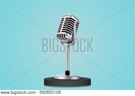 Retro Style Microphone Isolated On Blue Background