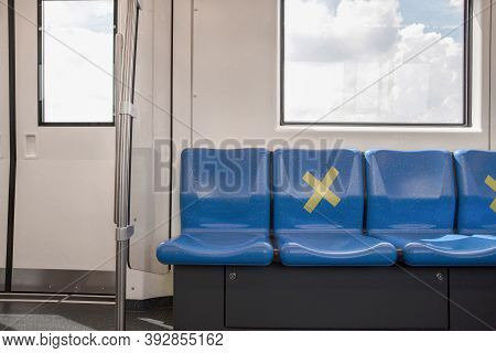 Seat On Public In Public Sky Train With Signs Social Distancing Protect For One Seat Keep Distance T