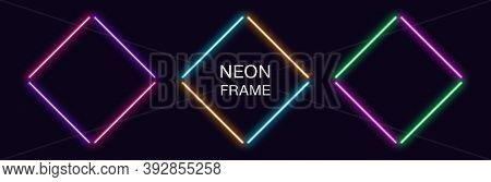Neon Rhomb Frame. Set Of Rhombus Neon Border In 4 Outline Parts. Geometric Shape With Copy Space, Fu