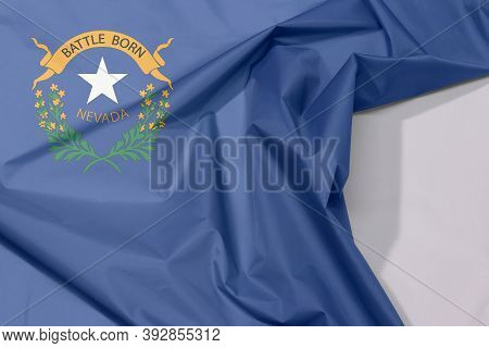 Nevada Fabric Flag Crepe And Crease With White Space, The States Of America, Two Sagebrush Branches