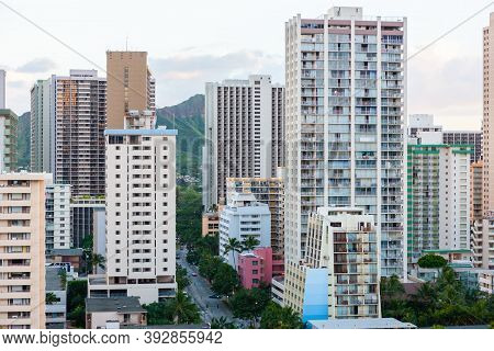 Hotel buildings of various sizes in central Waikiki, Oahu, Hawaii