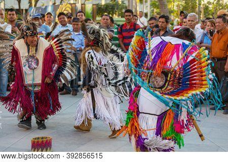 SAN SALVADOR, EL SALVADOR - JANUARY 5: Native American dancers show their traditional dances on the central square of San Salvador on January 5, 2018 in El Salvador.