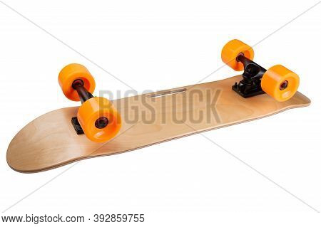 New Modern Skateboard With Orange Wheels, Inverted, White Background