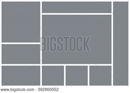 Photo Collage Template. Mood Board. Picture Grid. Vector. Mosaic Frame Banner. Moodboard Background.