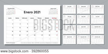 Spanish 2021 Year Planner. Calendar Template. Week Starts Monday. Vector. Table Schedule Grid. Calen