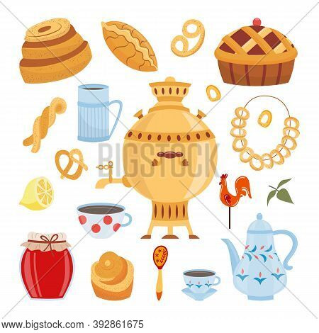 Tea Theme Set With Russian Samovar And Bagels Flat Vector Illustration Isolated.