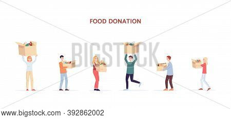 Food Donation - People Carry Boxes With Food Flat Vector Illustration Isolated.