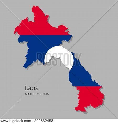 Map Of Laos With National Flag. Highly Detailed Editable Map Of Laos, Southeast Asia Country Territo