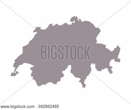 Switzerland Blank Map Silhouette. High Detailed Editable Gray Map Of Switzerland. European Country B