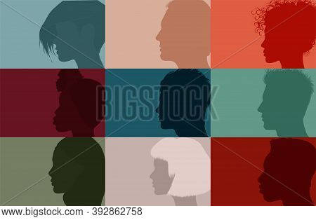 Collage Community Society Diversity Multiethnic People. Group Side Silhouette Men And Women Of Diver
