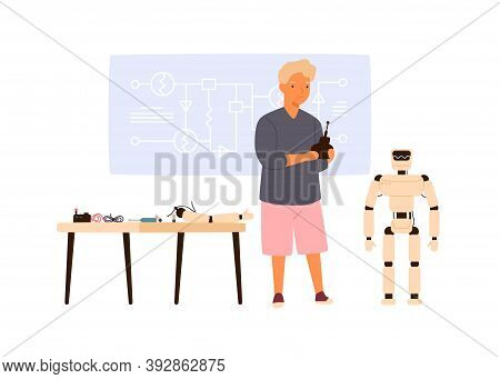 Smart Child Operating Robot By Remote Control. Boy Constructor Creating Electronic Ai. Young Enginee