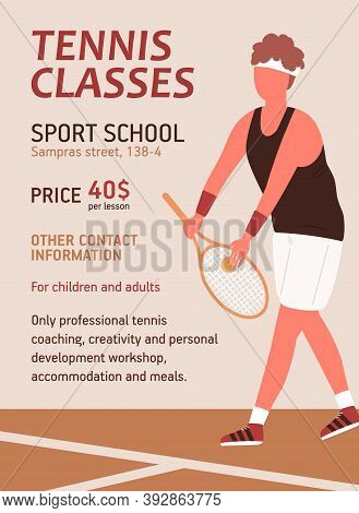 Vertical Poster For Tennis Classes Or School. Colorful Advertising For Sport Lesson With A Place For