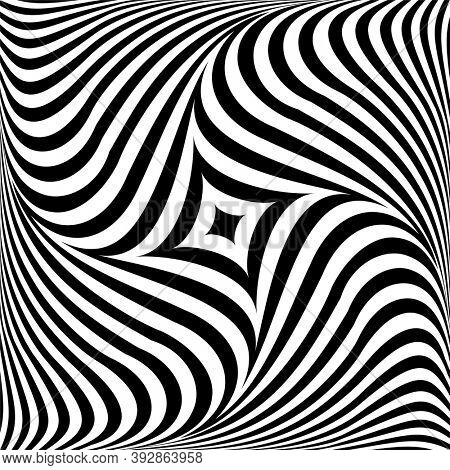 Abstract op art graphic design. Rotation torsion motion. 3D illusion.