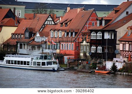 Old Fisher Houses And Boats In Bamberg, Germany