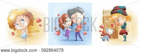 Romantic Set With Cute Man And Woman, Cupid And Girl With Gift Dog. Love, Love Story, Relationship,