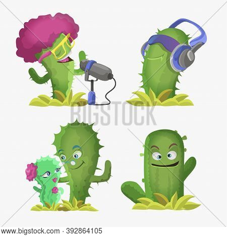 Cactuses Cute Kawaii Vector Characters. Plants With Smiling Faces. Cactus In Headphones, Cactus Sing
