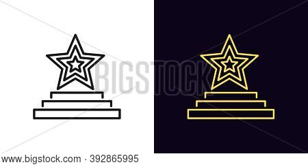 Outline Star Podium Icon. Linear Star Sign On Pedestal With Editable Stroke, Award Ceremony. Fashion
