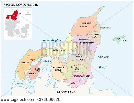 Vector Administrative Map Of The Region North Jutland, Denmark