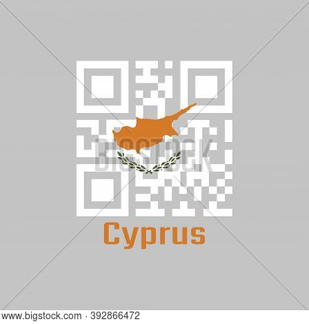 Qr Code Set The Color Of Cyprus Flag. An Outline Of The Country Of Cyprus Above Twin Olive Branches