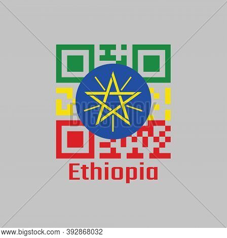 Qr Code Set The Color Of Ethiopia Flag, A Horizontal Tricolor Of Green Yellow And Red With The Natio