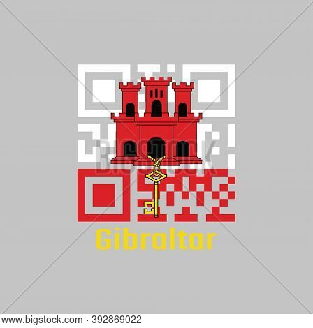 Qr Code Set The Color Of Gibraltar Flag. White With A Red Stripe With Three Towered, Each Tower Has