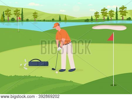 Golf Game Flat Color Vector Illustration. Professional Player With Driver Club. Man Hit Ball. Tourna