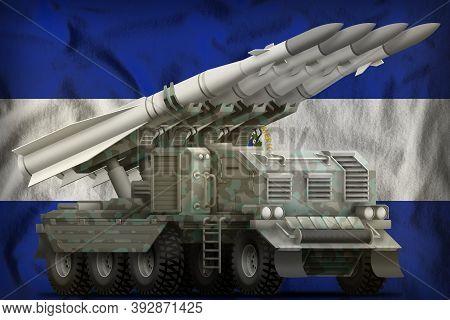 Tactical Short Range Ballistic Missile With Arctic Camouflage On The El Salvador Flag Background. 3d