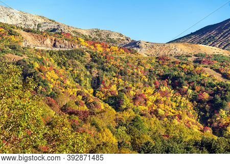 Autumn fall foliage Mountain at Bandai Azuma Skyline at Mt.Bandai in Fukushima Tohoku Japan