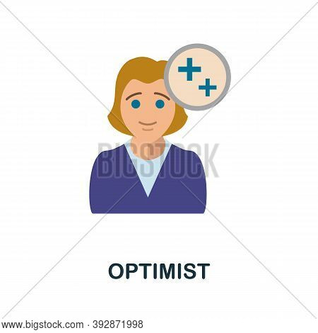 Optimist Icon. Simple Element From Critical Thinking Collection. Creative Optimist Icon For Web Desi