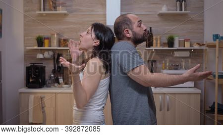 Angry People Arguing Standing Back To Back. Furious, Irritated, Frustrated, Jealous Unhappy Couple S