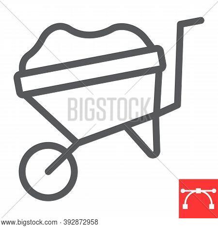 Wheelbarrow Line Icon, Construction And Agriculture, Wheel Barrow Sign Vector Graphics, Editable Str