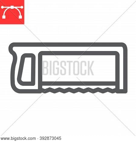Hacksaw Line Icon, Construction And Carpentry, Handsaw Sign Vector Graphics, Editable Stroke Linear
