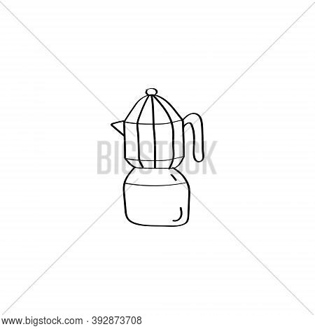 Coffee Maker Icon With Italian Pot. Moka Pot. Geyser Coffee Maker. Doodle Vector Illustration