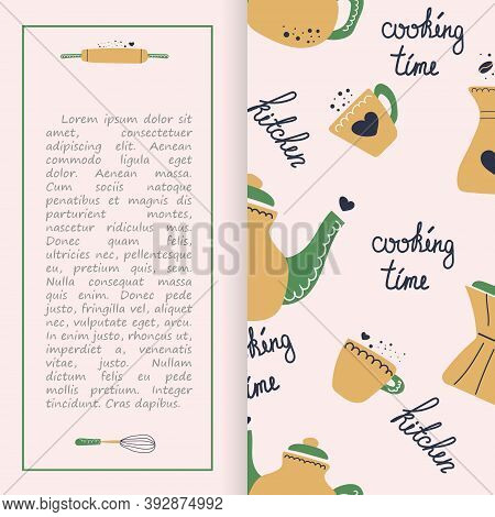 Cooking Classes Or Courses Equipment Booklet, Brochure, Pamphlet, Leaflet. Tea Pot And Cup, Text Coo