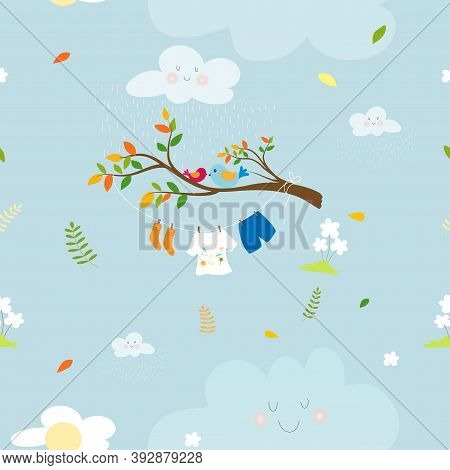 Seamaless Spring Nature With Kids Cloth Hanging On String In Rainy Day And Birds Standing On Branch