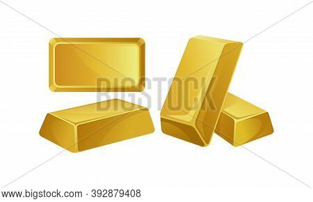 Gold Bar Or Gold Ingot As Molded Precious Metal Vector Set