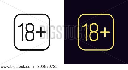 Outline 18 Plus Icon. Linear 18 Age Sign With Editable Stroke, Adult Content. Under 18 Restriction I
