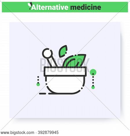 Naturopathic Medicine Line Icon.mixture Of Herbs In Mortar.natural, Herbal Treatment.healthcare And