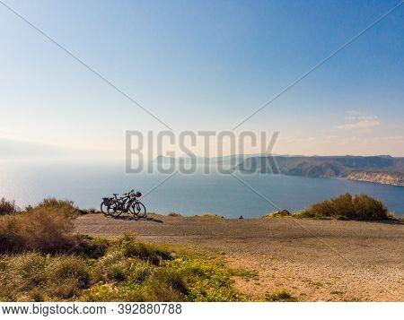 Bicycles On Coast, Mesa Roldan Headland In Province Almeria, Andalusia Spain. Cabo De Gata Natural P