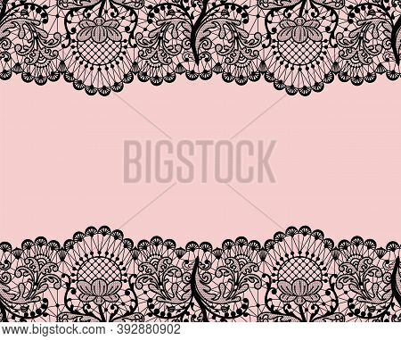 Horizontally Seamless Pink Lace Background With Black Lace Borders