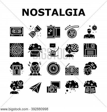 Nostalgia And Memory Collection Icons Set Vector. Retro Music Cassette And Photo Camera Roll, Comput