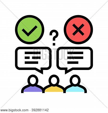 Wrong And Correct Opinion Color Icon Vector. Wrong And Correct Opinion Sign. Isolated Symbol Illustr