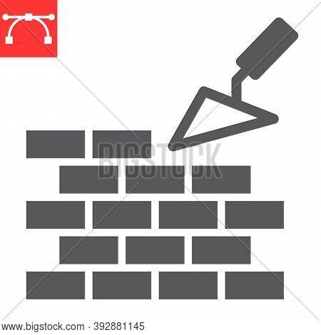 Brickwork Glyph Icon, Construction And Trowel, Build Brick Wall Sign Vector Graphics, Editable Strok