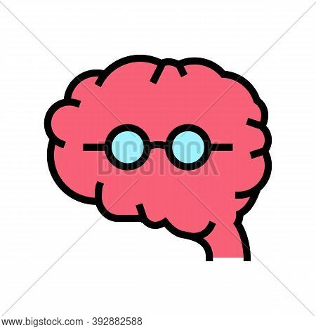 Brain Geek Color Icon Vector. Brain Geek Sign. Isolated Symbol Illustration