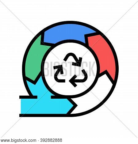 Recycling And Circular Economy Color Icon Vector. Recycling And Circular Economy Sign. Isolated Symb