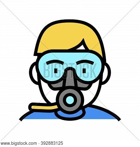 Diver Mask And Breath Tool Color Icon Vector. Diver Mask And Breath Tool Sign. Isolated Symbol Illus