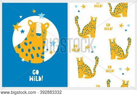 Funny Hand Drawn Safari Party Vector Illustration And Seamless Pattern With Cute Dotted Leopard And