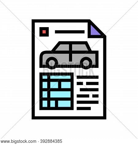 Car Characteristics Paper List Color Icon Vector. Car Characteristics Paper List Sign. Isolated Symb