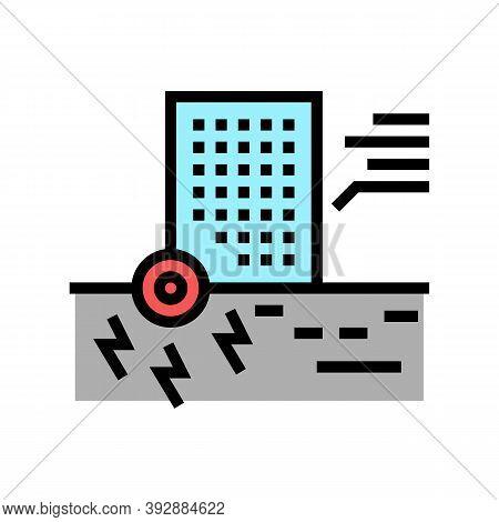 Skyscraper Seismic Resistance Color Icon Vector. Skyscraper Seismic Resistance Sign. Isolated Symbol